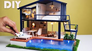 DIY Dollhouse Miniature Modern Apartment with pool