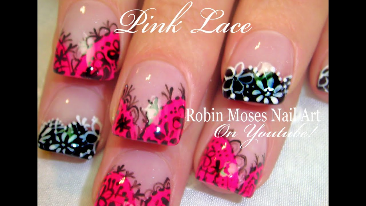 Easy Lace Nails Pink Black White Romantic Nail Art Design Youtube