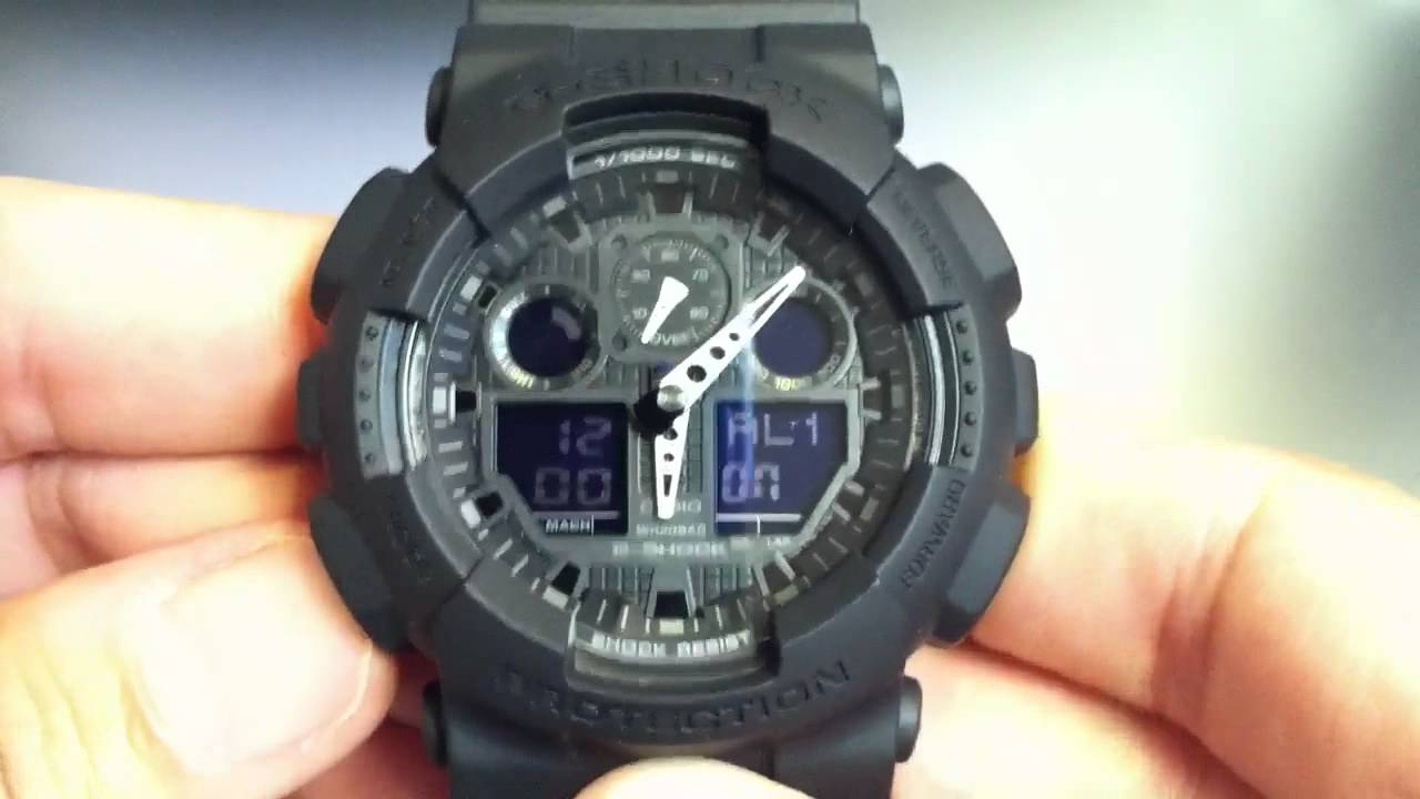 Casio G-shock Ana-digi Xl Blackout Watch Ga100-1a1