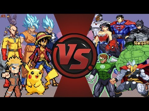 Anime vs Justice League & Avengers (Goku, Naruto, Luffy, Pikachu vs Superman, Batman, Hulk, Thor)
