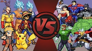 Anime vs Justice League & Avengers (Goku, Naruto, Luffy, Pik...