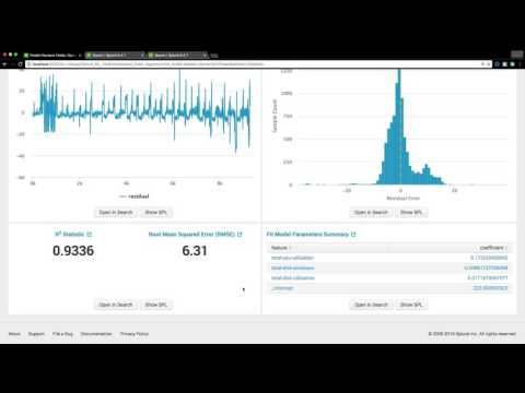 Splunk MLTK's Predict Numeric Fields assistant for predicting the server power consumption