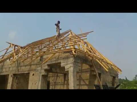 Roofing Construction In Nigeria With Stone Coated Tiles Youtube