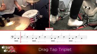 Bass Drum Snare Drum Technique 110 bpm Drag Tap Triplet Right Foot