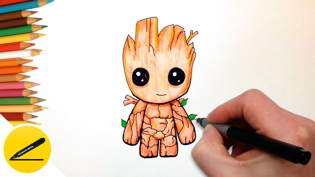 How To Draw Baby Groot Easy Guardians Of The Galaxy Step By Step