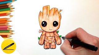 How to Draw Baby Groot Easy (Guardians of the Galaxy) - Step by Step Tutorial