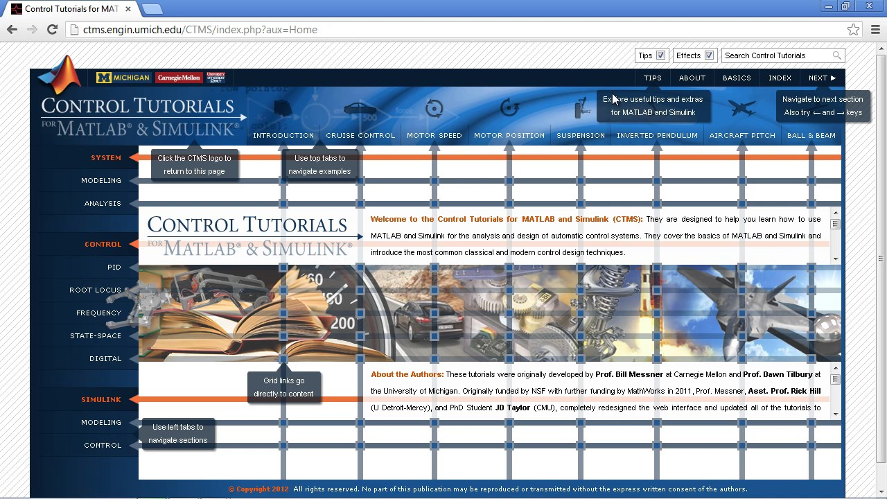 Control tutorials for matlab and simulink: a web-based approach.