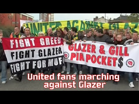 Man United fans protest march against Glazer