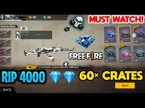 RIP MY 4000 DIAMONDS 😭    60× WEAPON CRATES OPENING - GARENA FREEFIRE
