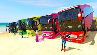 COLOR LARGE BUS on BEACH & SUPERHERO Learn colors for kids 3D animation for babies