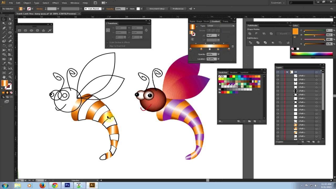 [Học Illustrator] Vẽ con ong – Ứng dụng lệnh tô màu Part3