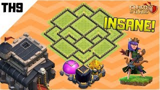 EPIC TOWN HALL 9 (TH9) HYBRID (TROPHY/FARMING) BASE DESIGN 2019   Anti Everything   Clash of Clans