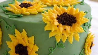 Gorgeous Buttercream Sunflower Cake Decorating Tutorial - CAKE STYLE