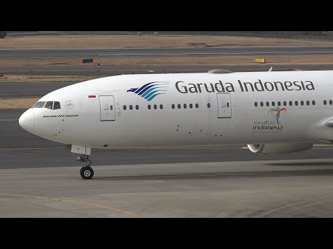 Garuda Indonesia Boeing 777-300ER PK-GIA Pushback and Takeoff  [NRT/RJAA]