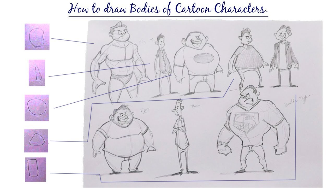 Comic Character Design Tutorial : How to design bodies of cartoon characters character