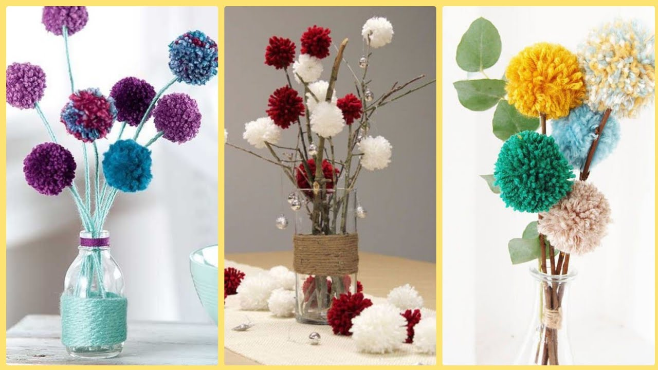 DIY Pom Pom Flowers-Wool Flowers-Home Decor - YouTube