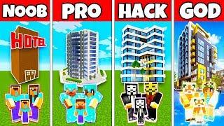 Minecraft: FAMILY MODERN HOTEL HOUSE BUILD CHALLENGE - NOOB vs PRO vs HACKER vs GOD in Minecraft