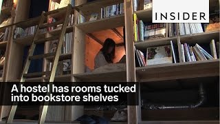 Sleep in bookshelf cubbies at this hostel