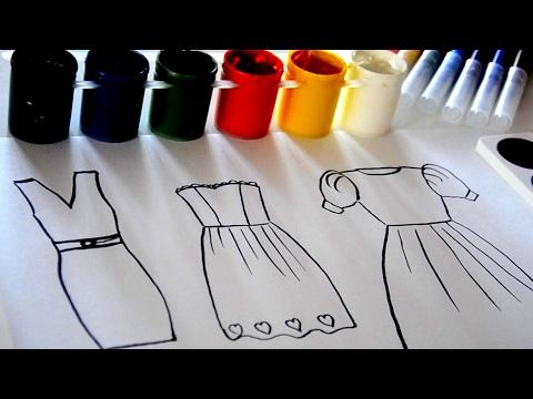 ✿Рисуем Красивые Платья для Кукол.Раскраска Акварелью.Узнай какого цвета будут платья