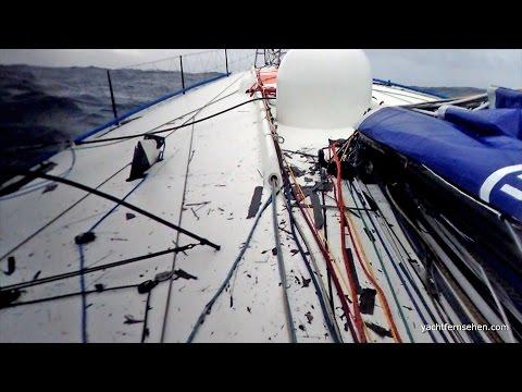 Race yachts - dismasted, collision in severe storm - Vendée Globe 16/17