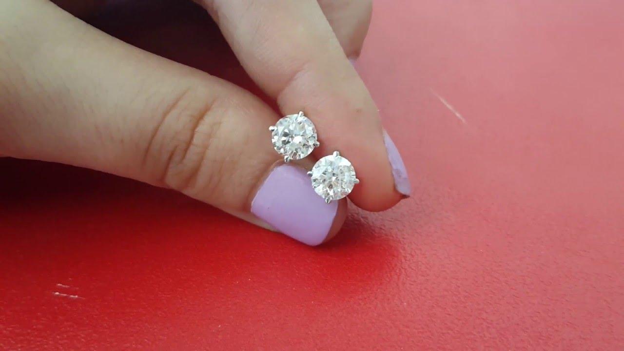 2.45 CARAT DIAMONDS STUD EARRINGS E/SI2 ROUND PAIR %100 NATURAL 14K ...