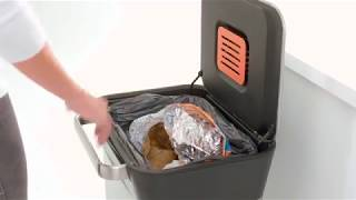 Joseph Joseph 30030 Intelligent Waste Titan Trash Can Compactor, 8 gallon /30 liter, Stainless Steel