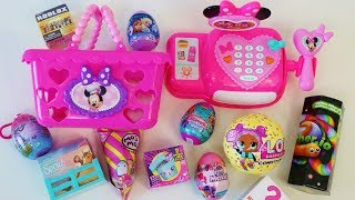 Minnie Mouse Bowtique cash register shopping for toy surprises LOL, Frozen, Roblox and more