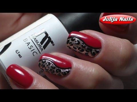 Ногти красный с черным дизайн