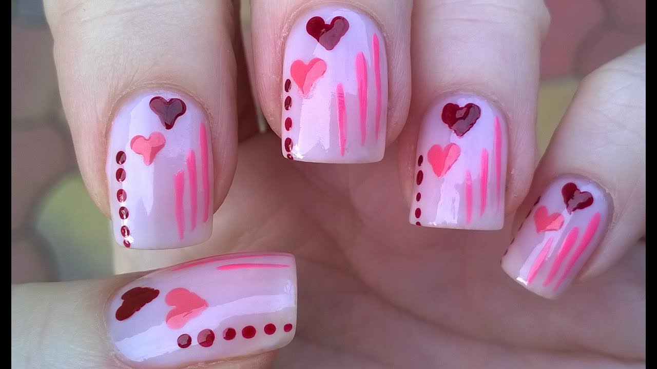 Pastel Pink Valentines Day Heart Nails Easy Dot Nail Art For
