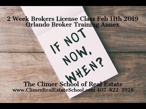 Feb 11th 2019 Florida Broker License Real Estate Class - Orlando Broker  Training Annex