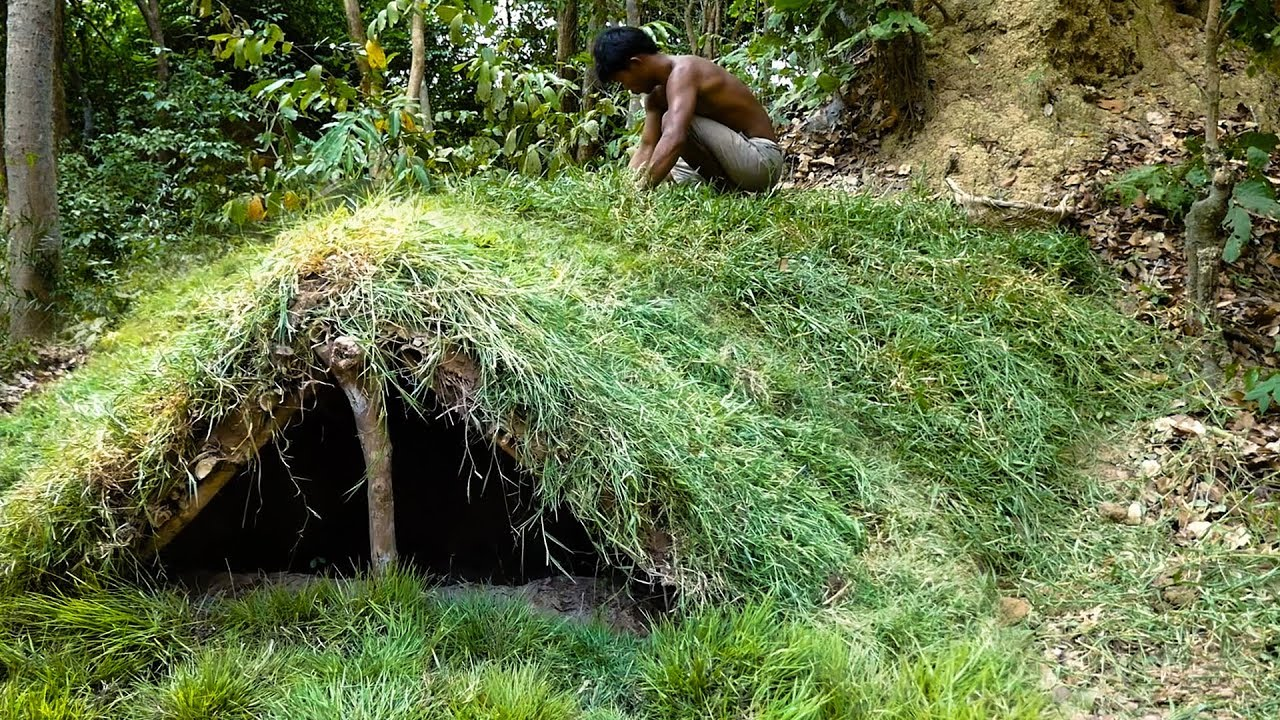 Primitive Technology, Building underground grass mud hut, 01