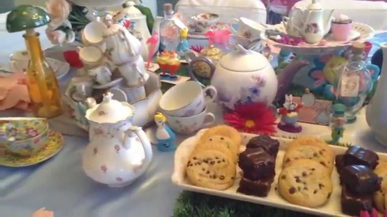 Elegant alice in wonderland tea party table setup youtube for Classy kitchen tea ideas
