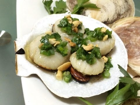 Grilled scallop with butter and scallion | Sò đệp nướng mở hành