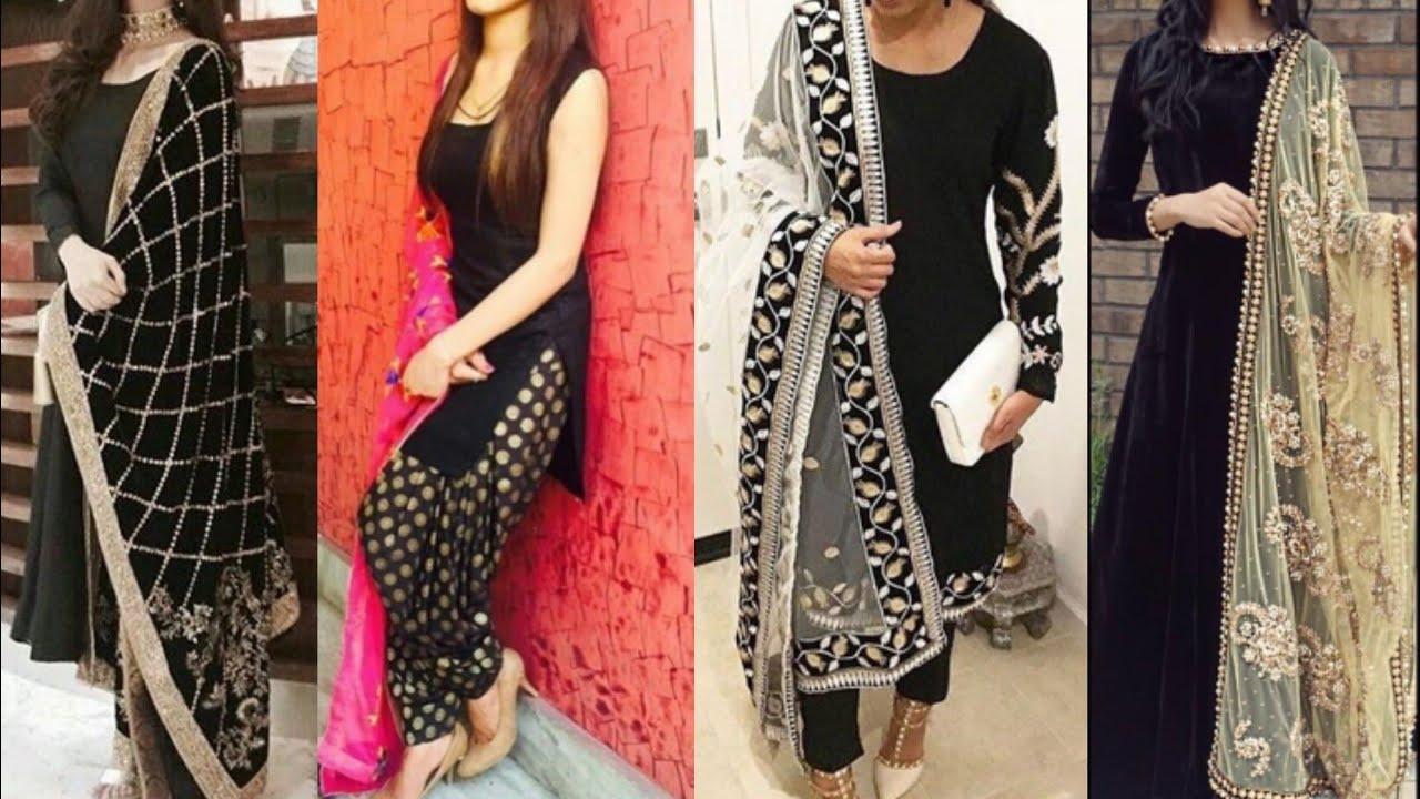 e8777ad1a8 New black colour Salwar suit design ideas/Black color Punjabi suit design/party/simple  wear suit/