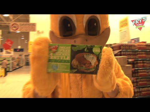 Darren Maule accosts shoppers like a Big Chicken