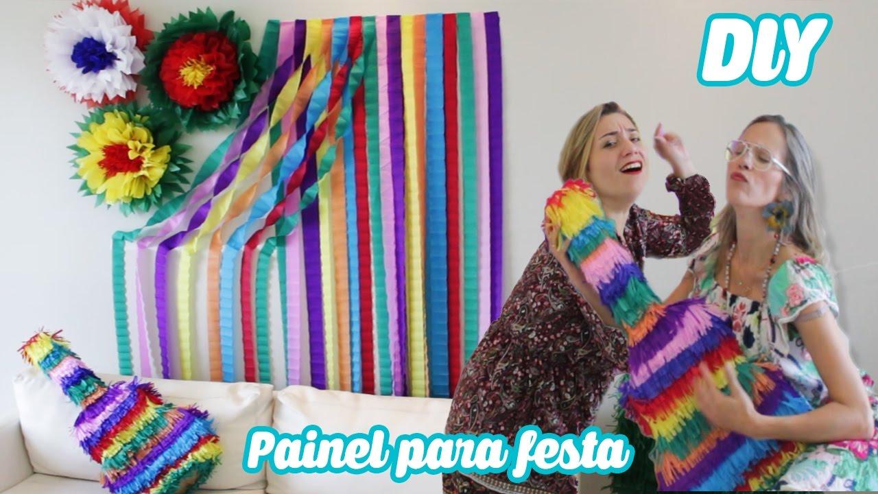 DIY PAINEL CORTINA DE PAPEL CREPOM para DECORA u00c7ÃO DE FESTA YouTube -> Decoração De São João Com Papel Crepom