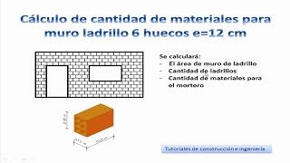 13.- Cálculo de materiales de construcción para un muro de ladrillo de 6 Huecos e=12 cm - TCICM13