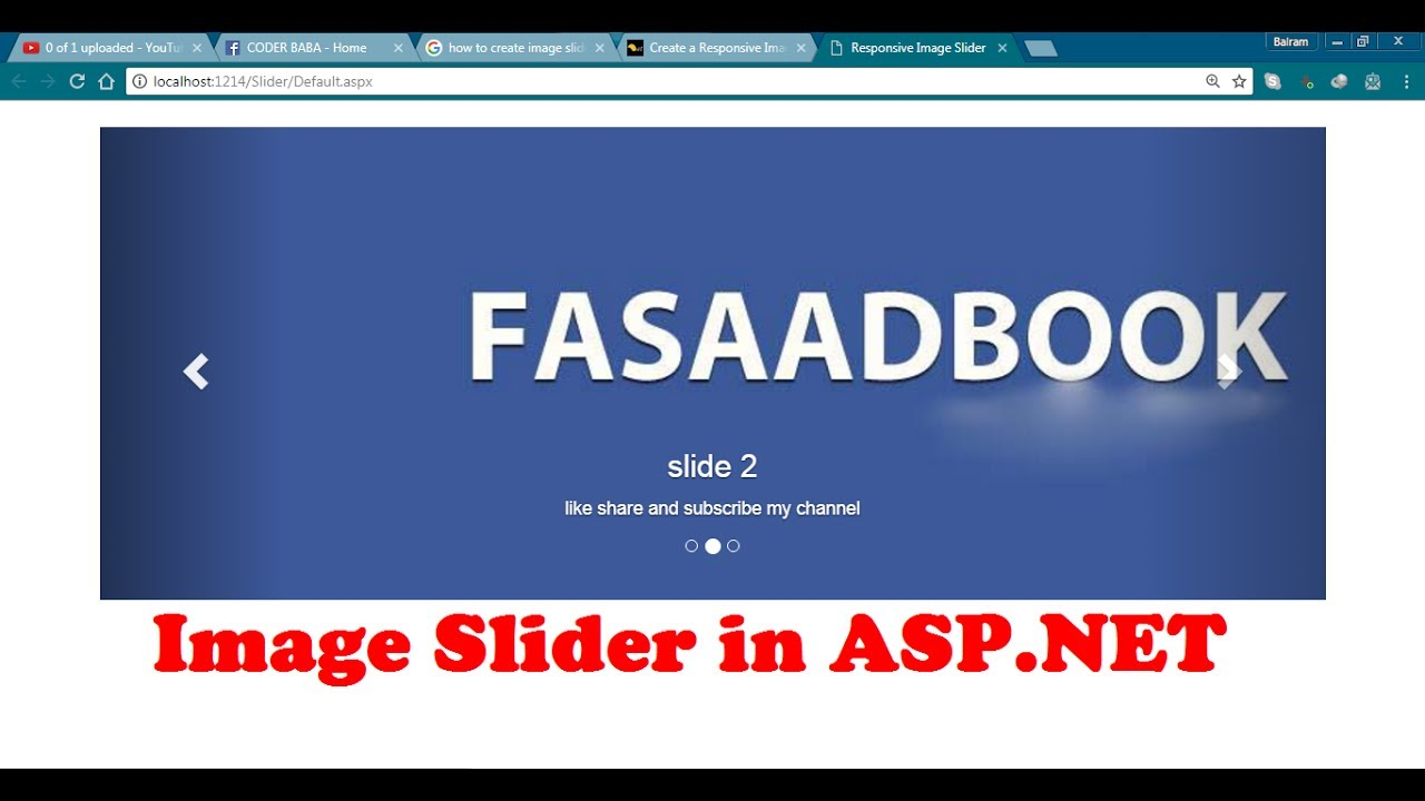 Image Slider with Bootstrap & JQuery in ASP NET - Простые