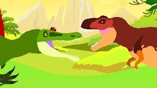 Веселые Динозаврики. Тираннозавр Рекс против Спинозавра. Динозавры мультфильм
