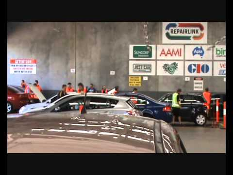 AUTO HAIL DAMAGE See inside Hail Assessment Centre AAMI SUNCORP GIO Brisbane Australia Discovery