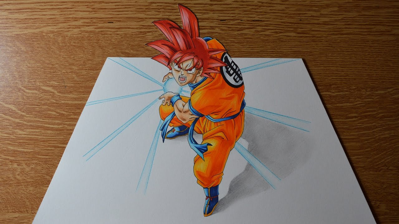 Drawing Goku Super Saiyan God 3d