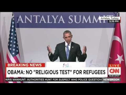 "Obama slams Jeb Bush for suggesting a ""religious test"""