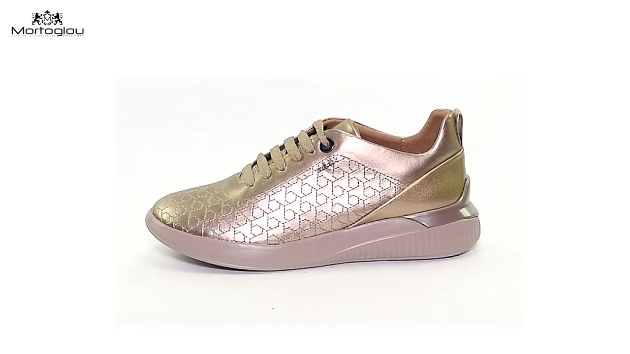 10f57fa20c0 Γυναικεία Παπούτσια Casual Geox D828SC Gold Leather - YouTube