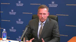 Paypal co-founder and facebook board member peter thiel joined the nixon seminar on conservative realism national security tuesday, april 6 to discuss...