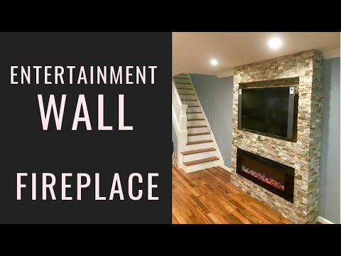 Stone Fireplace Accent Wall -Entertainment TV wall fireplace combo how to