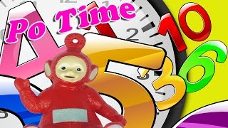 Teletubbies Po is learning to tell the time.Learning  with toys.