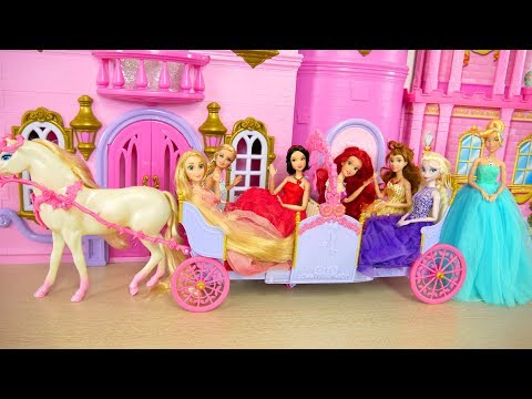Princess Barbie Expandable Carriage Princess doll New Dresses Putri Barbie Gaun Vestidos Princesa