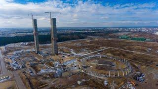 Rozbiórka elektrowni C w Ostrołęce z lotu ptaka
