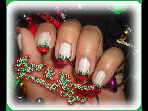 Christmas Nails Red Green French Tips Youtube