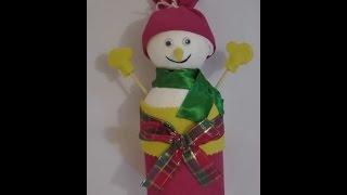 Latinha decorada com boneco de neve por Show de Artesanato